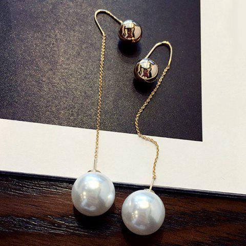 Pair of Chic Style Double-end Ball and Faux Pearl Earrings For Women - Golden