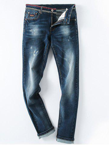 Online Ripped Design Zip Fly Denim Pants For Men DENIM BLUE 36