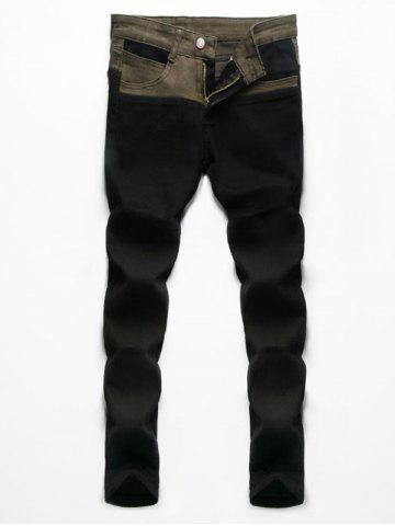 Buy Splice Design Zip Fly Denim Pants For Men