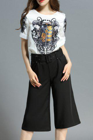 Cheap Print Tee with Wide Leg Pants