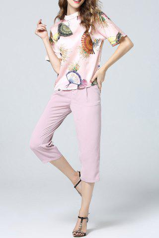 Trendy Chinese Fan Print Top and Pants