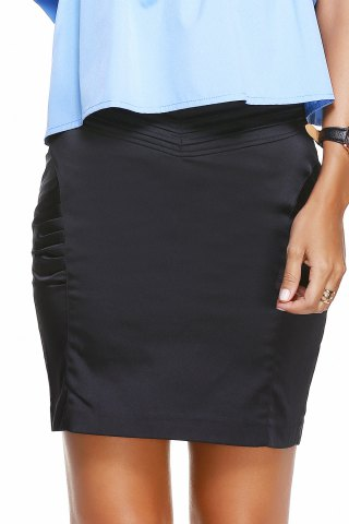 Outfit Ruched Solid Color Skirt