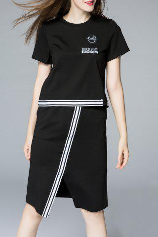 Outfits Slit Pencil Skirt with Short Sleeve Tee