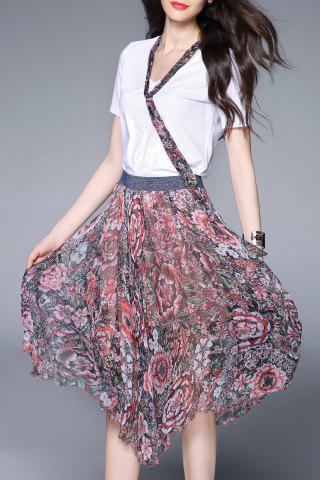 Outfit T-Shirt and Floral Print Asymmetric Skirt Suits