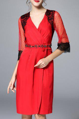 Trendy Lace Embellished Ruched See Through Dress