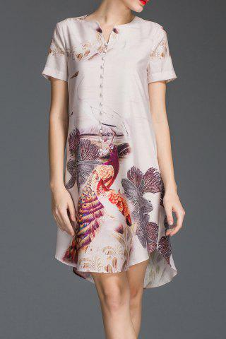 Cheap A Line Peacock Print Dress