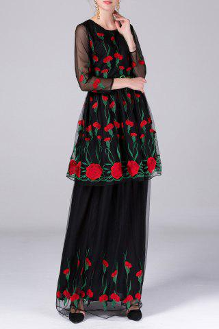Trendy Multi Way Flower Embroidery Dress and Skirt Twinset