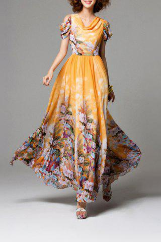 Trendy Cowl Neck Floral Print Chiffon Dress
