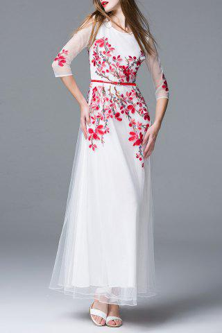 Affordable Flower Embroidery Belted Dress
