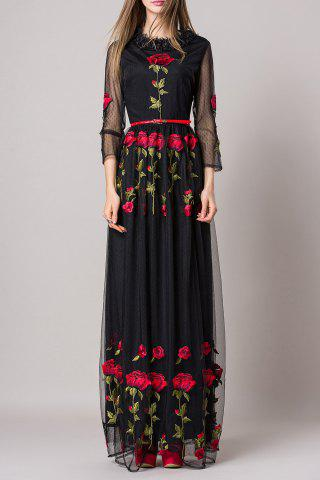 Outfit Rose Embroidery Belted Dress