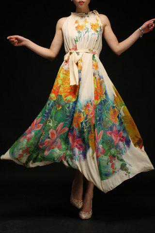 Hot Flowing Floral Print Dress With Belt