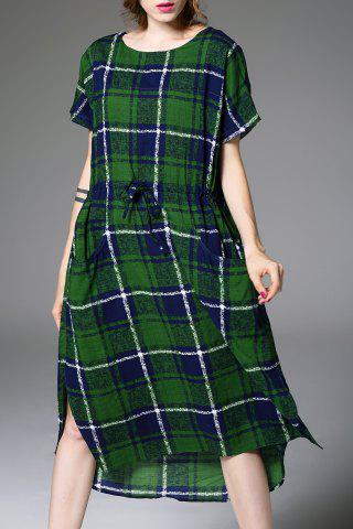 Buy Relaxed Fit Checked Waisted Causal Dress