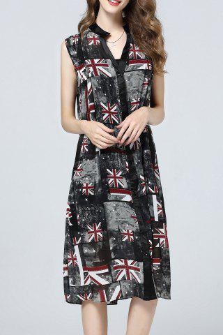 Outfit Flag Print Single Breasted Dress