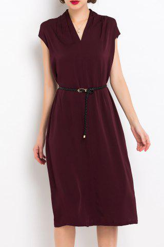 Online V Neck Back Slit Belted Dress