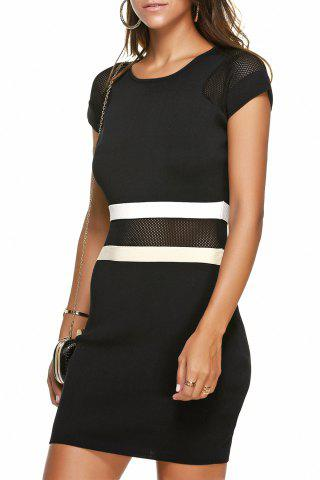 Chic Mesh Color Block Mini Dress