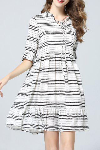 Discount Striped Bow Collar Dress