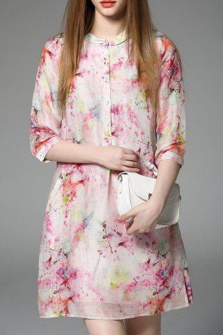 Cheap Stand Collar Floral Print Dress