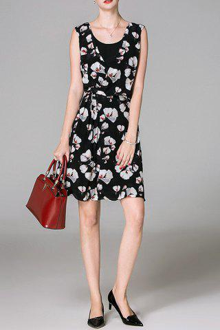 Fancy Scoop Neck Floral Print Sleeveless Dress