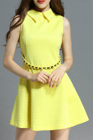 Unique Polo Collar Stud Embellished Dress