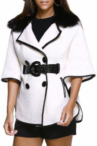 Store Batwing Sleeve Leather Spliced Coat