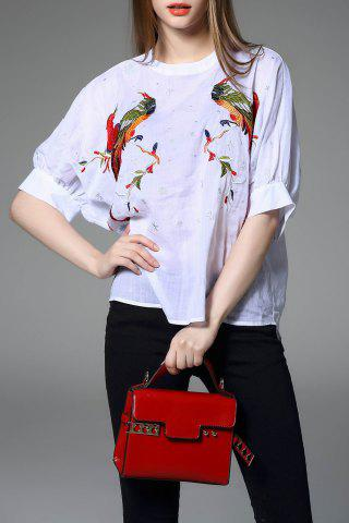 Fashion Bird and Floral Embroidered Blouse