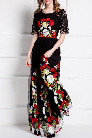 Trendy Embroidery Lace Insert Maxi Tulle Dress