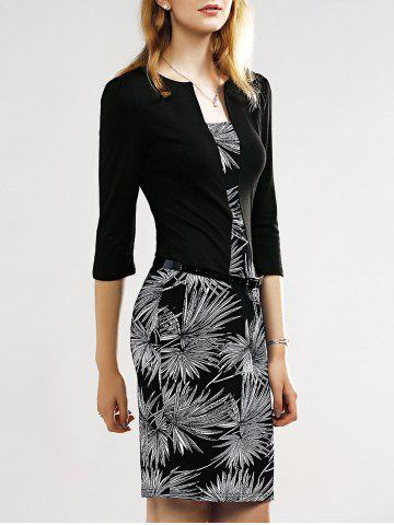 Best Belted Firework Print Sheath Dress BLACK 2XL