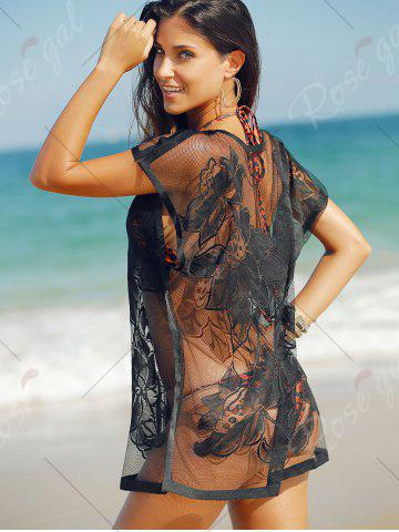 Cheap See-Through Tunic Bathing Suit Kaftan Cover Up - ONE SIZE(FIT SIZE XS TO M) BLACK Mobile