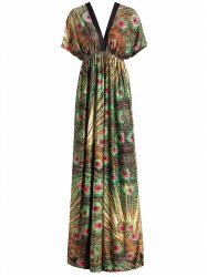 Peacock Print Maxi Tropical Dress with Sleeves