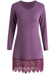 Stylish Scoop Neck Long Sleeve Solid Color Laciness Women's Dress - PURPLISH RED S