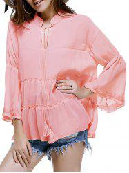 Trendy Plus Size Tassels Design Women's Solid Color Blouse