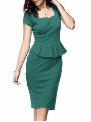 Short Sleeve Peplum Bodycon Dress - LAKE GREEN
