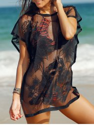 See-Through Tunic Bathing Suit Cover Ups - BLACK