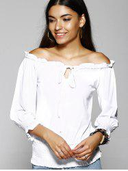 Off The Shoulder Pure Color T-Shirt For Women