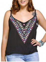 Fashionable Spaghetti Strap Plus Size Geometric Print Women's Tank Top -
