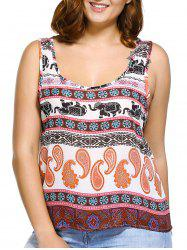 Trendy U Neck Plus Size Elephant Print Paisley Women's Tank Top