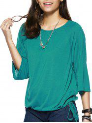 Elegant Scoop Neck Pure Color 3/4 Sleeve Tee For Women