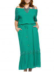 Trendy Off The Shoulder Lace Spliced Pocket Design Plus Size Women's Dress -