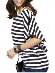 Casual Striped Short Sleeve Loose Blouse + Long Tank Top Twinset For Women -