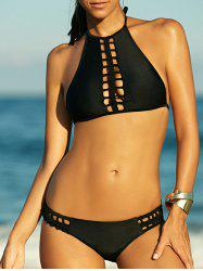 High Neck Knit Strappy Bikini Set