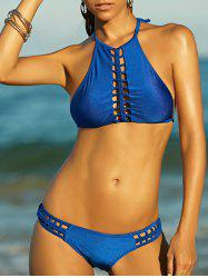 Chic Halter Braid Cut Out Women's Bikini Set