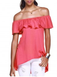 Stylish Off The Shoulder Flounce Irregular Hem Women's T-Shirt