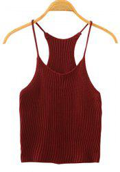 Sweet Spaghetti Strap Candy Color Knitted Tank Top For Women -