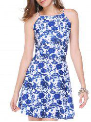 Stylish Floral Print Back Zipper Dress For Women