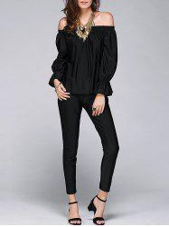 Stylish Off The Shoulder Blouse and Pants For Women - BLACK XL