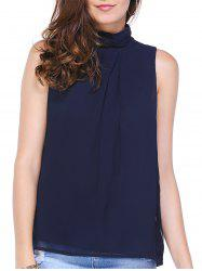 Stylish High Neck Open Back Pure Color Blouse For Women -