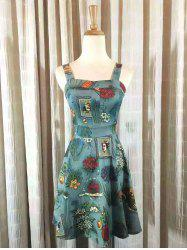 Vintage Square Neck Tie Waist Floral Dress For Women -