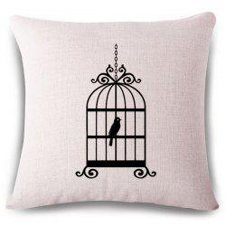 Simple Style Birdcage Pattern Linen Square Shape Pillowcase
