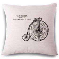 Simple Style Bicycle Wheel Letter Pattern Square Shape Pillowcase -