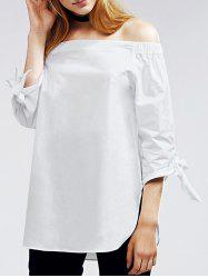 Alluring Off The Shoulder Self Tie White Blouse -
